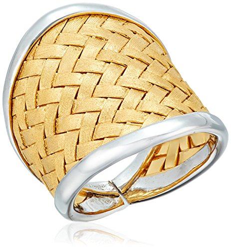 Yellow Gold Plated Silver Basket Weave Ring, Size 7
