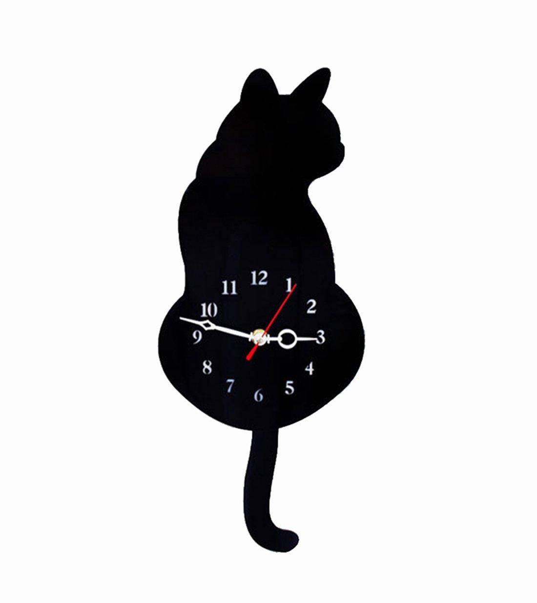 Besttime Home Decor Swing Pendulum Wall Clock Cute Cat Design For Living Room,Office,Hotel(Black)