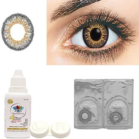 760c7fe0ad89 Buy Diamond Eye Monthly Grey Colored Contact Lenses 0 Power + Multi Plus  Solution With Lens Storage Box Online at Low Prices in India - Amazon.in