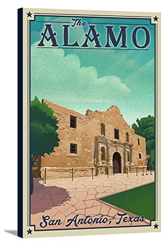 - San Antonio, Texas - The Alamo - Lithograph 95673 (24x36 Gallery Wrapped Stretched Canvas)