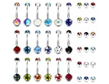 LOLIAS 18 Pcs 14G Stainless Steel Womens Belly Button Rings for Girls Navel Rings Barbell Body Piercing Jewelry