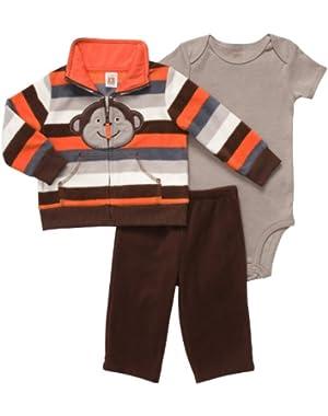 Carter's Baby Boy's Micro Fleece 3 Pc Cardigan & Pant Set