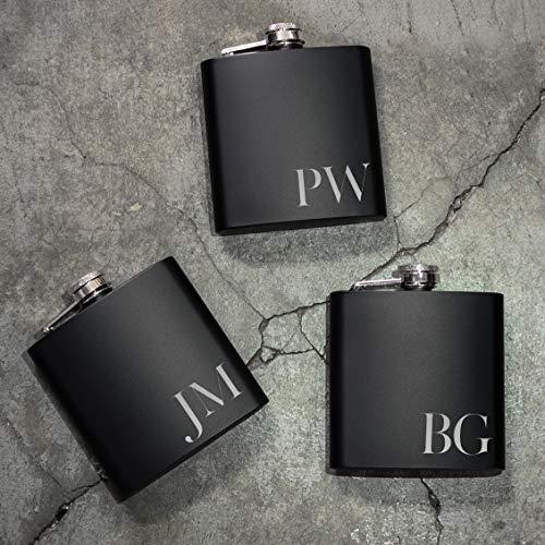 Set of 6, Set of 3, Single - Personalized Flask, Groomsmen Gift, Customized Groomsman Flasks, Wedding Favors, Matte Black, Design 2 (6) by United Craft Supplies (Image #2)