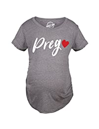 Maternity Prego Red Heart Tshirt Adorable Cute Pregnancy Tee For Ladies -S