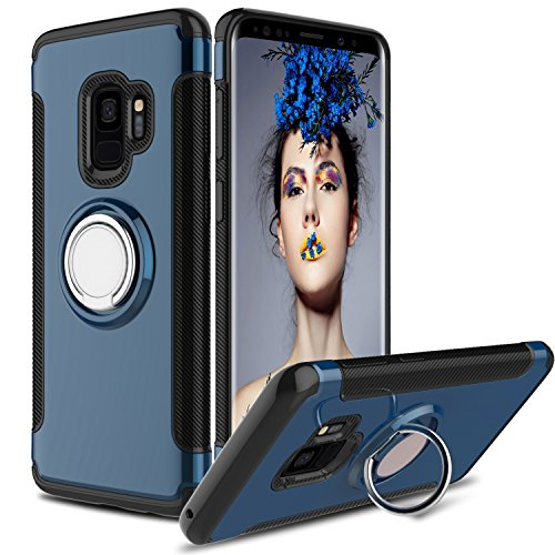 Galaxy S9 Case, S9 Phone Cover, Elegant Choise Hybrid Dual Layer 360 Degree Rotating Ring Kickstand Protective Case with Magnetic Case Cover for Samsung Galaxy S9/G960F/G960U (2018) (Navy) ()