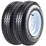 VANACC Trailer Tires 4.8x8 with Rims 4 Lug Trailer Tire 4.80-8 Trailer Wheel and Tire Load Range C,Set of 2