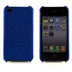 Boho Tronics ® Glitter Bling Cover Sparkle Hard Plastic Skin - Compatible With Apple iPhone 4 4S 4G - Blue