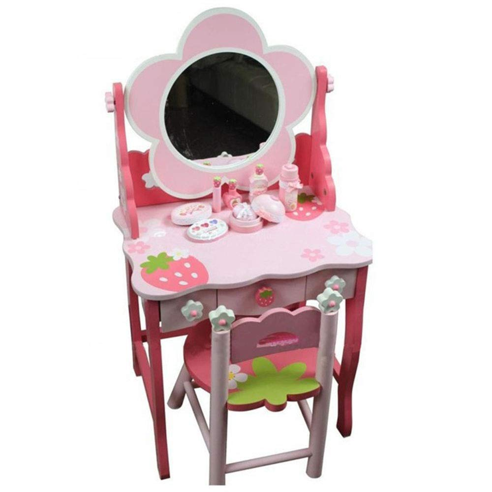 Girls Dressing Table Set Girl Dresser Dressing Table Wooden Play House Children Learning Toy (Color : Pink, Size : 924635cm)