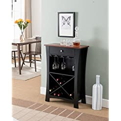Home Bar Cabinetry Kings Brand Hiland Bar Cabinet Wine Storage With Glass Holders & Drawer, Black, Black home bar cabinetry