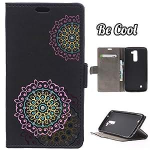 BeCool® - Funda carcasa tipo Libro para LG K10 protege tu Smartphone ya que se adapta a la perfección, tiene Función Soporte, ranuras para tus tarjetas y billetes sin olvidar nuestro exclusivo diseño Negro Mandala rosa y amarillo