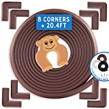 Bebe Earth | Baby Proofing Edge & Corner Guard Protector Set | Safety Bumpers | Child Proof Furniture & Tables | Pre-Taped Bumper Corners (20.4 ft + 8 corners, Coffee Brown)