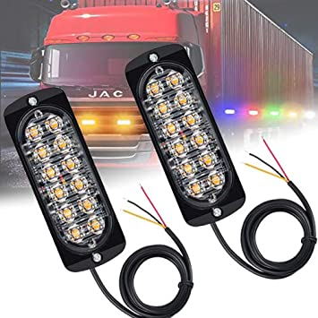 2X Amber Recovery Car Strobe 6LED Lights 12//24V Orange Warning Flashing Lamp