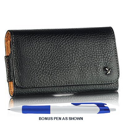 Pebble Texture Leather Design Horizontal Belt Clip Magnetic Closing Flap Holster Pouch Case for Motorola Droid MAXX XT1080M / Droid Ultra XT1080 + A Bonus Long Arch Blue White Ball Point Pen + A Bonus 4
