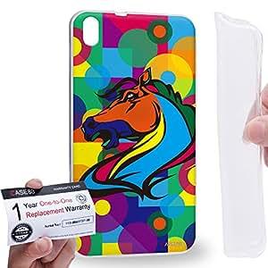 Case88 [HTC Desire 816] Gel TPU Carcasa/Funda & Tarjeta de garantía - Art Drawing Sleipnir Horse Kawaii Abstract Animals Art2574