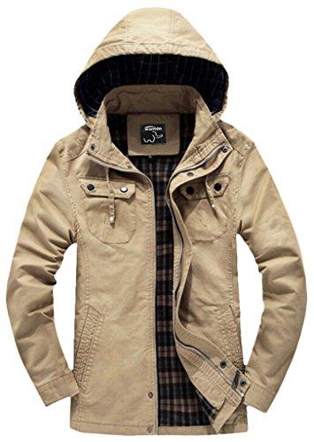 Wantdo Men's Cotton Lightweight Jacket with Removable Hood US Medium Khaki