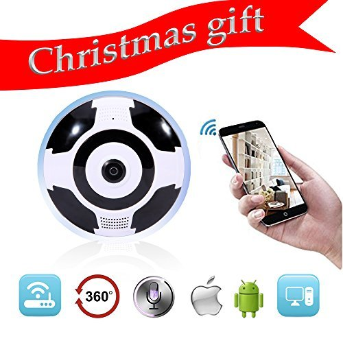 Home Camera, 1080P WiFi Wireless IP Security Surveillance Camera for Baby/Elder/ Pet/Nanny Monitor with Night Vision K2 (White/Indoor Dome 360 Degree Fish-Eye Lens)
