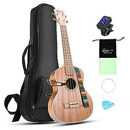 Hricane Concert Ukulele 23 inch UKS-2, 4 Strings Ukeleles For Beginners, Sapele Hawaiian Ukele with Ukulele Case and…