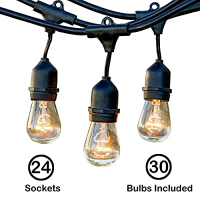 48 Ft Commercial Grade Outdoor, Indoor String Lights Strand with 24 E26 Hanging Sockets, Include 30-Pack 11 Watt S14 Warm White Incandescent Bulbs for Bistro Porch Patio Garden Deck Yard Cafe