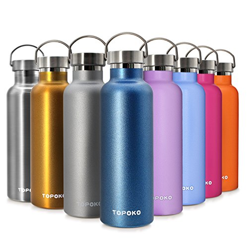 TOPOKO 25 OZ Stainless Steel Vacuum Water Bottle Double Wall Insulated Thermos Leak Proof BPA Free, Wide Mouth with Metal Lid-Grey - Aluminum Wide Mouth Bottle