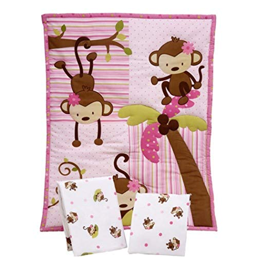 Ln 3 Piece Baby Girls Pink Brown Monkey Crib Bedding Set, Newborn Green Safari Nursery Bed Set, Jungle Animal Bows Patchwork Polkadots Cute Adorable Infant Child Comforter Blanket, Cotton Polyester