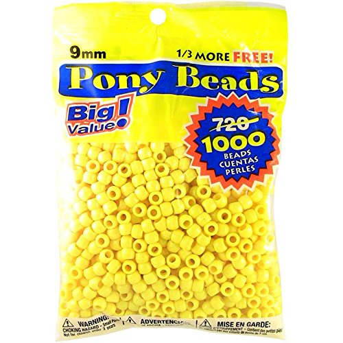 Darice Opaque Lemon Yellow Pony Beads - Great Craft Projects for All Ages - Bead Jewelry, Ornaments, Key Chains, Hair Beading - Round Plastic Bead With Center Hole, 9mm Diameter, 1,000 Beads Per Bag]()