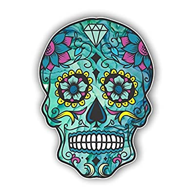 Vinyl Junkie Graphics Sugar Skull Sticker Dia de Los Muertos Decal Mexican Day of The Dead Stickers for Notebook car Truck Laptop Many Color Options (Blue): Automotive
