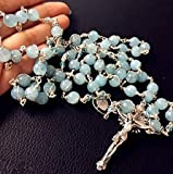 elegantmedical Handmade Sterling Silver Wire Wraped Aquamarine Beads 5 Decade Rosary Cross Necklace
