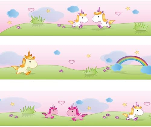 WANDKINGS Border Sweet Unicorns Length: 177 inch, self-Adhesive, for  Children\'s Rooms