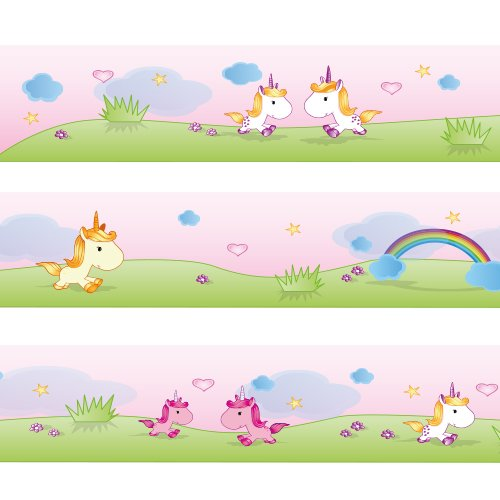 - Wandkings Border Sweet Unicorns Length: 177 inch, self-Adhesive, for Children's Rooms