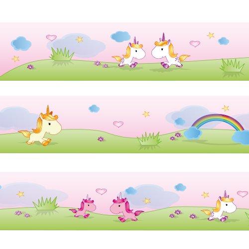 Bordura Wandkings Teneri unicorni Lunghezza: 450 cm, autoadesiva, per la camera dei bambini