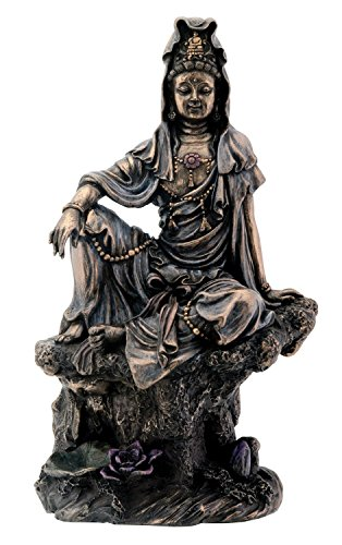 - 7 Inch Bronze Water and Moon Kuan Yin Buddhism Statue Figurine