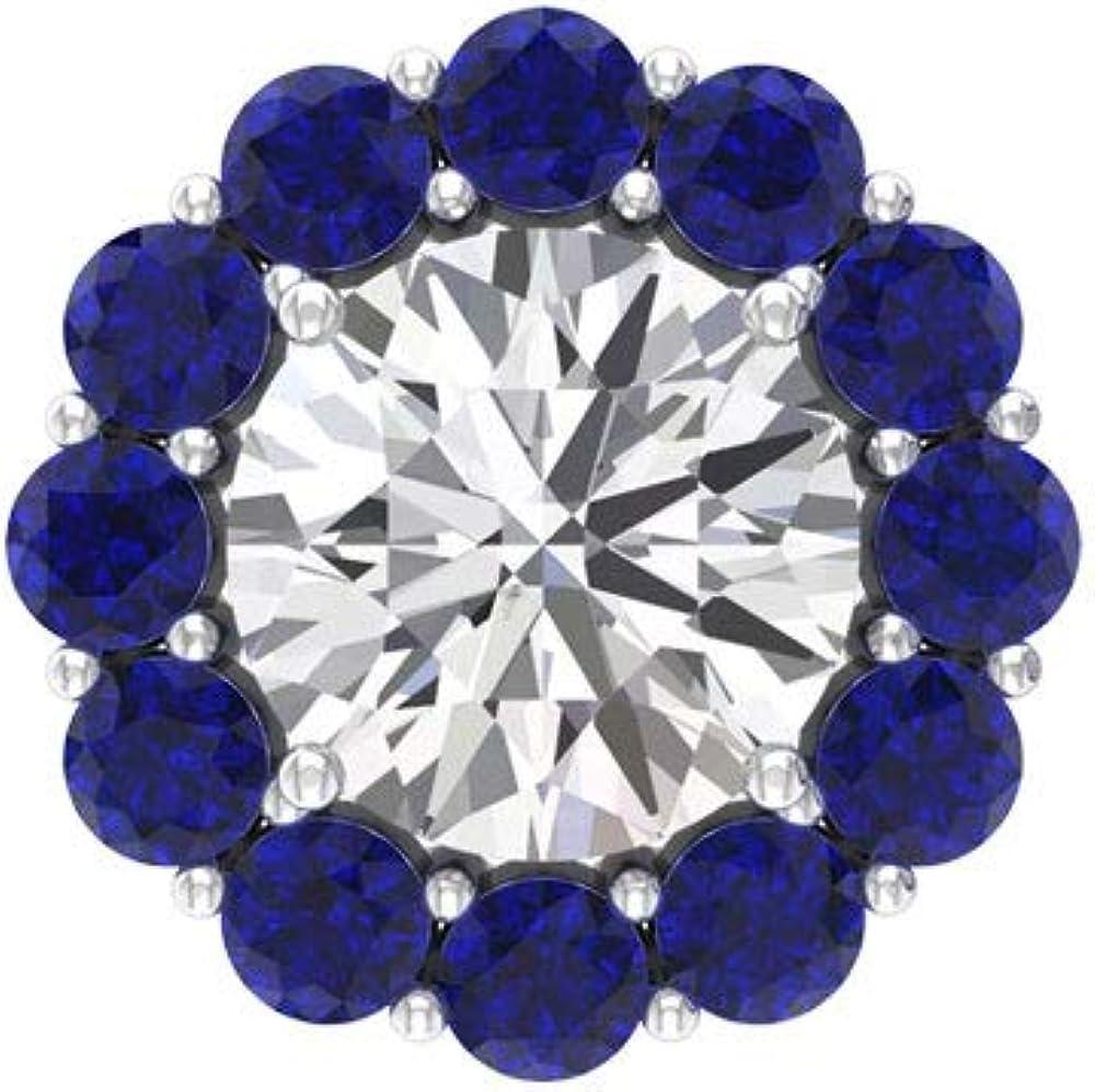 SGL - Pendiente de zafiro azul con certificado de 1,2 ct, 1,6 ct, solitario, moissanita, cartílago de boda, joyería para el cuerpo, madre, Body Jewellery, Única pieza, 92.5 Plata