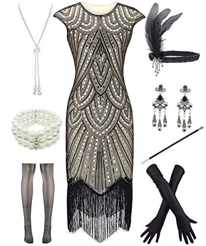 Women 1920s Vintage Flapper Fringe Beaded Gatsby Party Dress with 20s Accessories Set (S, Style 2-Gold) -