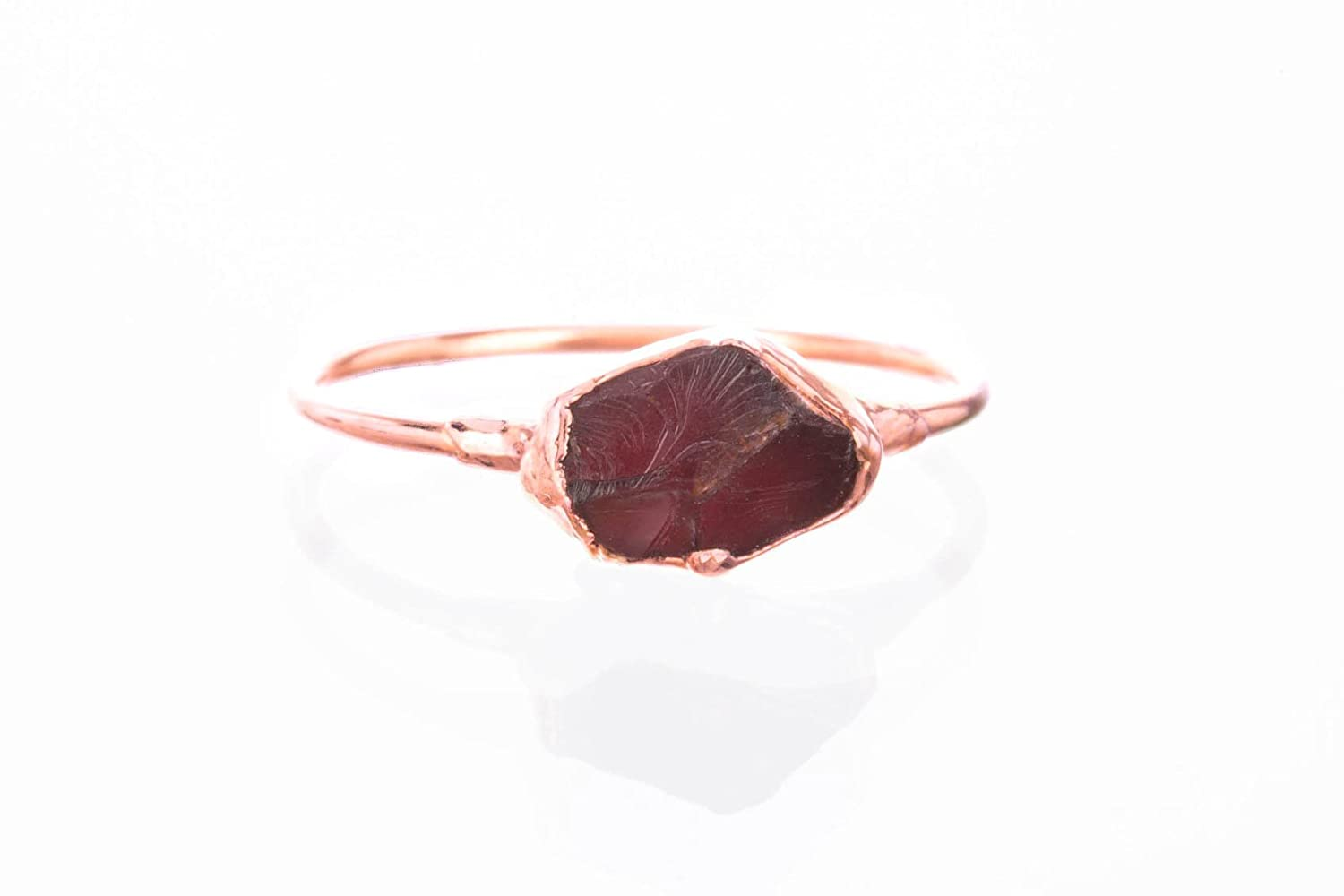 Size 6 Raw Garnet Ring, Rose Gold, January Birthstone