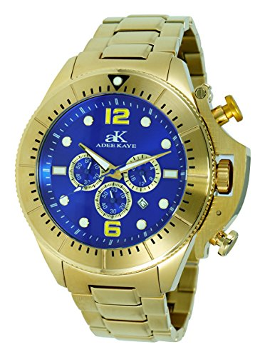 Adee Kaye Mens Chronograph Watch - Adee Kaye Mens Sports SS Chronograph Watch with Crown Protector-Gold Tone/Blue dial