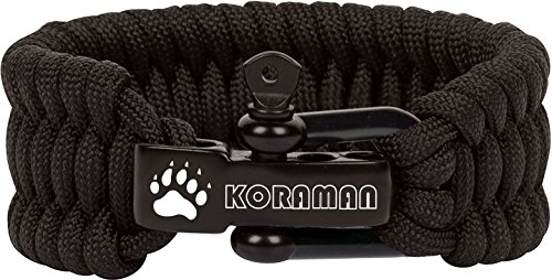 Paracord Survival Bracelet with Adjustable Black Stainless Steel D Shackle - Grade Type III Military Bracelet - Suitable for 8 to 9 Inch Wrists