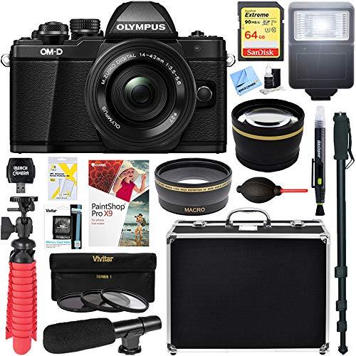 Olympus OM-D E-M10 Mark II Mirrorless Digital Camera with 14-42mm EZ Lens (Black) + 64GB Memory & Microphone Deluxe Accessory Bundle