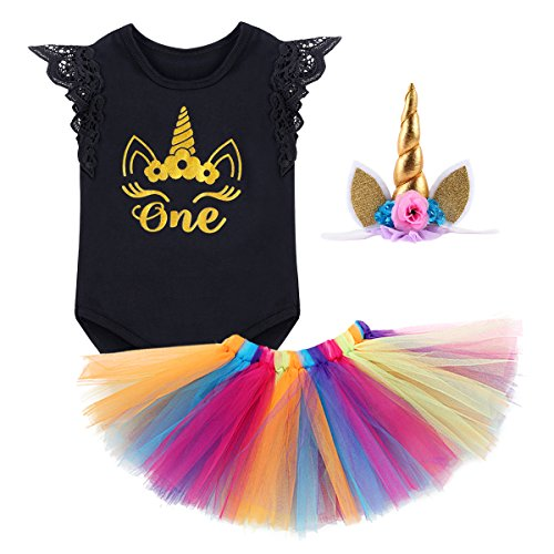 Infant Toddler 3PCS Outfit Skirt Tutu Onesie Unicorn Headband Romper Cake Smash Crown Princess Costume Christmas Dress #1 Black Lace Sleeve 6-12 (Beautiful Baby Lace Skirt)