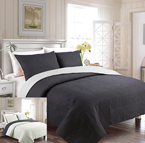 Fancy Collection 3pc Luxury Bedspread Coverlet Embossed Bed Cover Solid Reversible Charcoal /Beige Over Size New Full/Queen 100