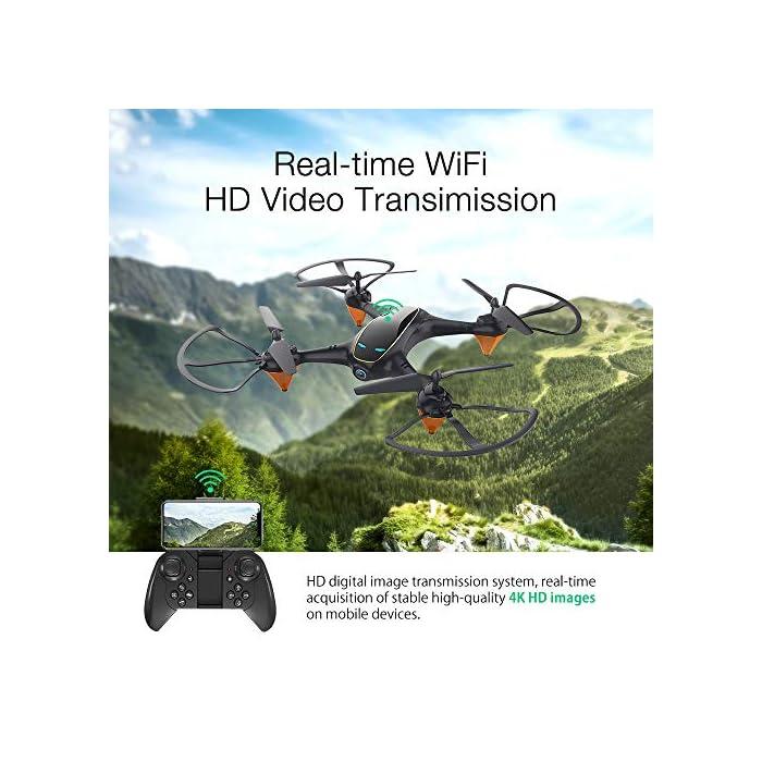 51D3VGBLWvL Tome fotos y videos HD, disfrute de la función FPV: el dron E58 está equipado con una cámara HD 720P de gran angular de 120 ° que incluye ángulo ajustable, que captura videos de alta calidad y fotos aéreas claras. El sistema FPV de transmisión en tiempo real de Wi-Fi se puede conectar a su teléfono con el dron y la vista se mostrará directamente en su teléfono, por lo tanto, disfrute del mundo por encima del horizonte, capture con precisión fotos y grabe videos para momentos extraordinarios. Puede llevarse alrededor y brazo de dron reemplazable: el pequeño fuselaje contiene un rendimiento excelente, un diseño plegable inteligente, le permite viajar ligero, disfrutar de la diversión de vuelo. El brazo del dron es reemplazable, cuando el motor o el brazo del dron están rotos, no necesita preocuparse de que el dron ya no funcione. Simplemente reemplace el brazo del dron y puede volar nuevamente. Es fácil para todos volar el dron: en el modo de retención de altitud, puede bloquear con precisión la altura y la ubicación, desplazarse estable y capturar videos o fotos desde cualquier ángulo de disparo, lo que hace que la experiencia sea muy fácil y conveniente, incluso un novato, puede jugar dis drone fácilmente. El dron despega automáticamente y aterriza con un clic, lo cual es muy útil. Hay una función de aterrizaje de emergencia para evitar colisiones con otras cosas.