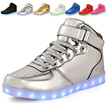 adituo Kids Girls and Boys High Top USB Charging LED Shoes Flashing Sneakers(Toddler/Little Kid/Big Kid£