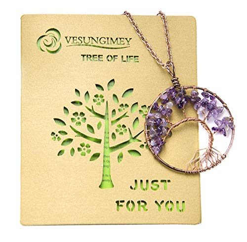 BETEVE Tree of Life Pendant Necklace,Spiritual Gifts - Amethyst Rose Crystal Gemstone Chakra Jewelry,Gift for Women Girl Sister Mother Friends,Meaning of The Tree of Life Card Included