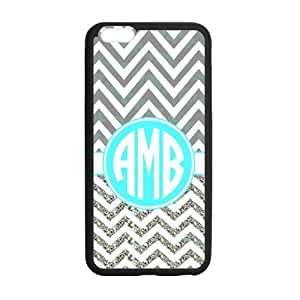 Grey and White Ziazag Chevron Wide Stripes with Cyan Monogram Design Custom Luxury Cover Case with Silicon Rubber For Iphone 6 Plus