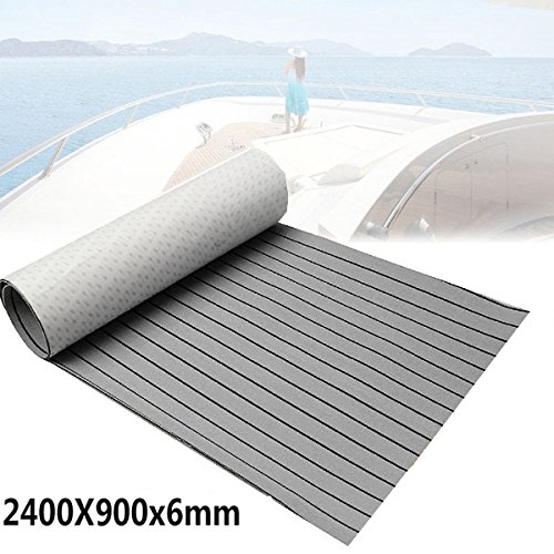 Foammaker EVA Foam Faux Teak Non-Slip Marine Mat, Boat Yacht Flooring Synthetic Teak Decking Pad (35in x 94in Grey with Black Seam Lines)