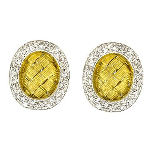 1.02 Ct Diamonds 18k Two-Tone Gold Basket-Weave Braided Earrings Pair