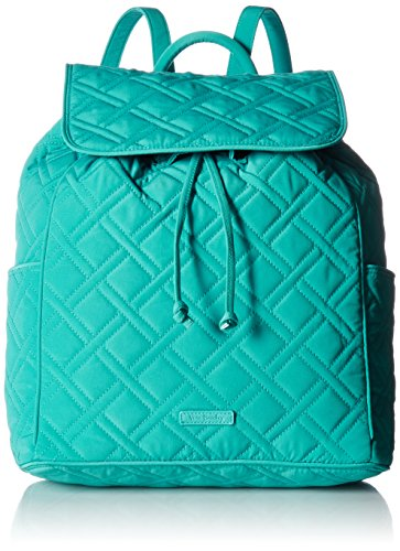 Vera Bradley Women's Drawstring Backpack, Turquoise Sea (Backpack Drawstring Microfiber)