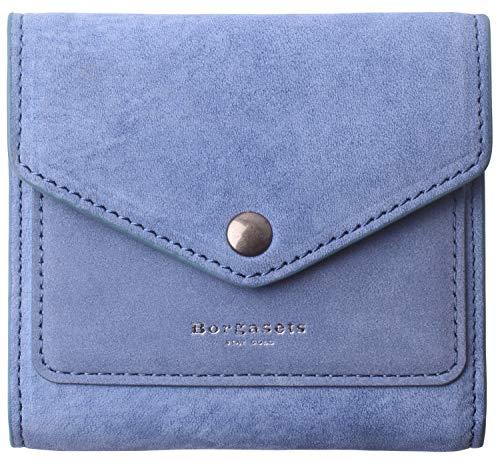 Borgasets Women's RFID Blocking Small Compact Bifold Leather Pocket Wallet Ladies Mini Purse Denim Blue - Suede Leather Mini