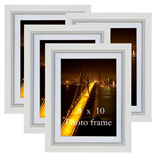 PETAFLOP 8x10 Picture Frames White 8 by 10 Decorative Poster Frame Wall Display, Set of 4pcs by PETAFLOP