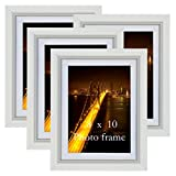 8x10 Picture Frames White 8 by 10 Decorative Poster Frame Wall Display, Set of 4