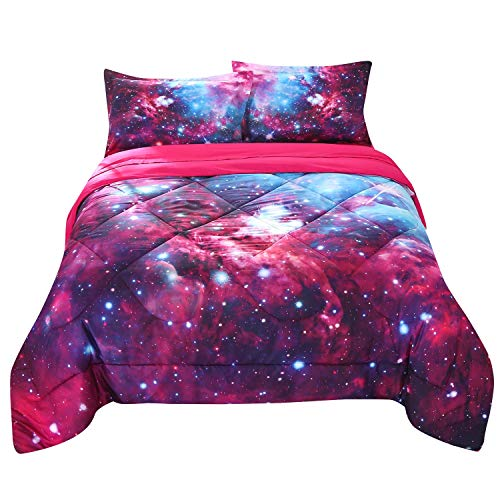 - ENCOFT 3D Galaxy Quilt Set Red and Blue Stars Outer Space Galaxy Comforter Set, 3 Pieces Galaxy Bedspreads Bedding Set, Full/Queen Size (Full/Queen, Galaxy)